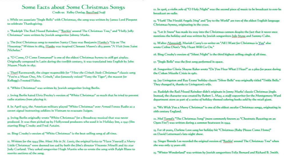 Christmas Song Facts