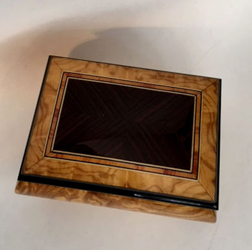two tone rectangular inlay of walnut on lighter maple box