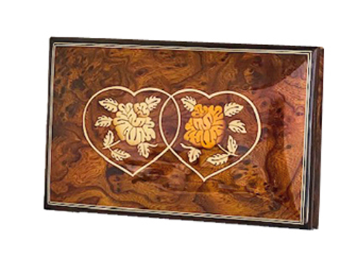 Linked Hearts on rectangular Elm Music Box with filetto border