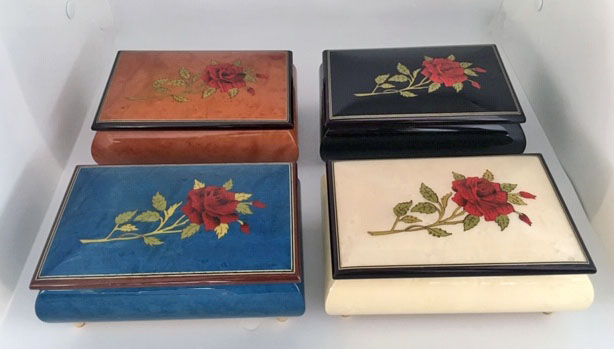 Single Rose on Elm, Black, Blue, and White Music Boxes