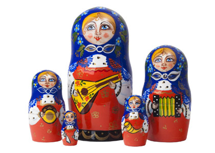 Classic Russian nesting  doll babuska clad girl balalaika player