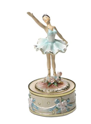 Enamel Ballerina Dances amid tiny flowers in Blue or Pink