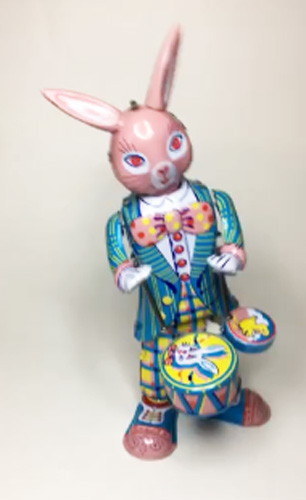 Animated Tin Toy Drummer Bunny