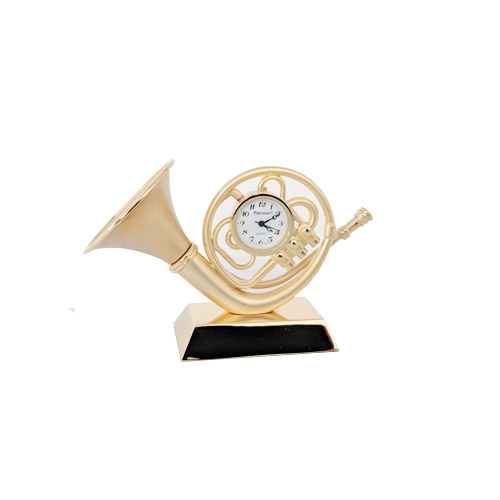 French Horn Gold Clock