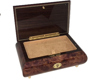Interior view of Burled Elm Box, accommodates 30 or 36 notes under removable cover