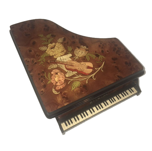 Top view of Italian Marquetry on burl Walnut Piano Music Box