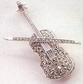 Marcasite Violin with Bow Brooche