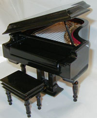 Miniature piano w bench black baby grand small for Smallest baby grand piano dimensions
