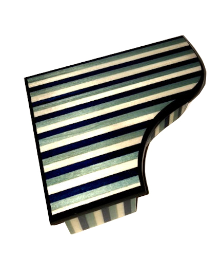 Two Tones of Blue with White stripes on Piano Shaped Music Box