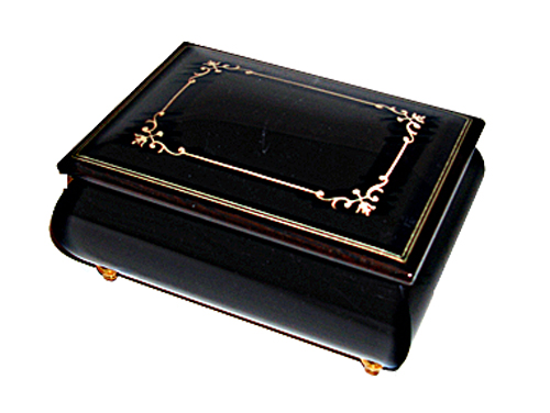 Small Black Music Box with simple Arabesque design