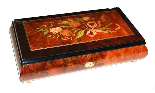 elongated music box with inlaid tulip bouquet and walnut border