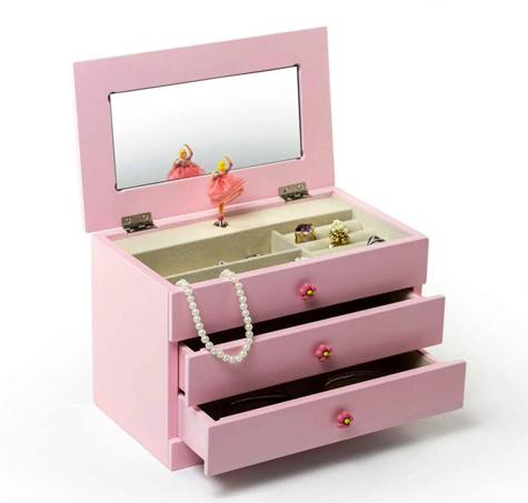 Open view of Alice Musical Jewelry Box by Mele