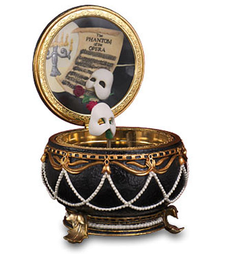 Phantom of the Opera with Twirling Mask Hinged Musical Trinket Box