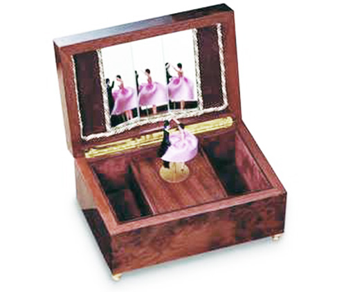 Reuge Dancing Couple twirl in burled elm  musical box