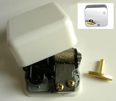 sankyo music box mechanism with white casing