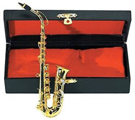 Saxophone and case 11 x 3 inches