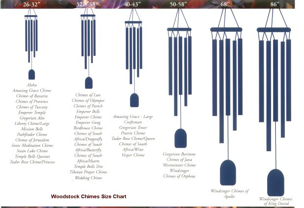 Woodstock Windchime Size Chart
