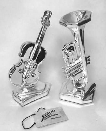 Pair of Silver Sculptures - Violin and Trumpet