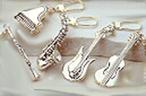 Modern Sterling Silver Musical Instrument Keychains