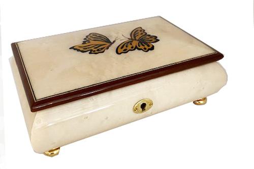 Italian Inlay of Two Butterflies on Burl Elm Musical Box (1.18)(1.30)(1.36)
