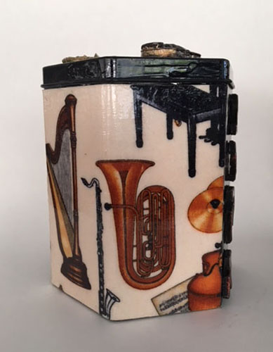 Beautiful Tzedakah Box with hand painted orchestral instruments