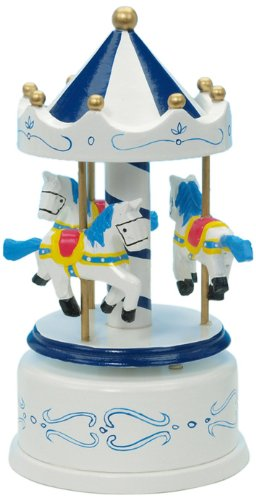 Wooden Musical Carousel in White with Blue