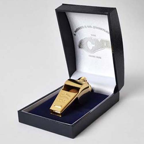 Gold Plated Large, deeper sound Acme Whistle in Presentation Box