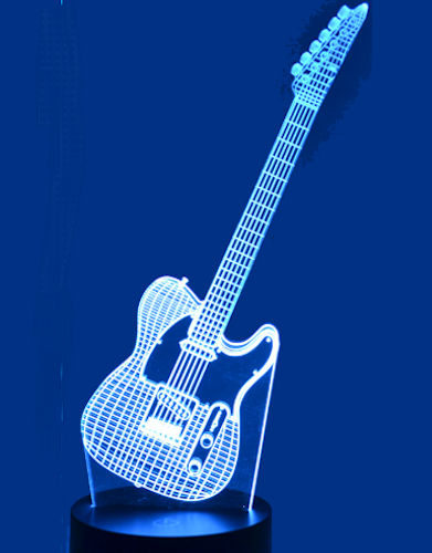 Acrylic 3D Lamp close up example - Fender electric guitar