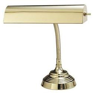 Lamp for Spinet or Console Piano - polished brass gooseneck