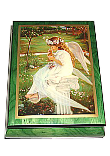 Angel with Kitten on Green Musical Box