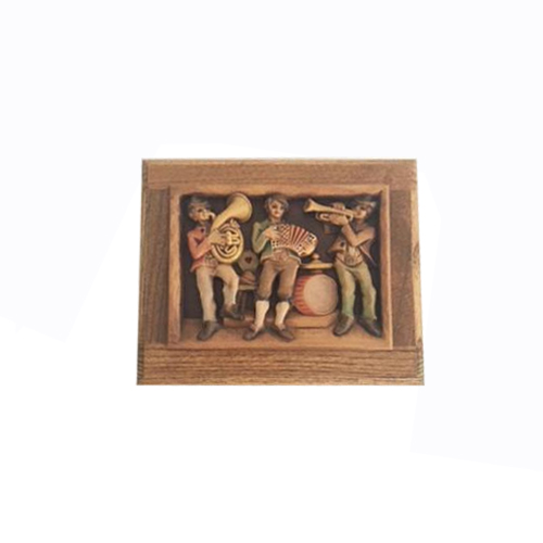Vintage Anri Carved Musicians on Oak Music Box