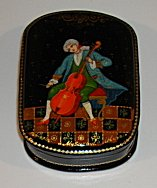 Russian Enamel Box with Cellist -  Artist Signed