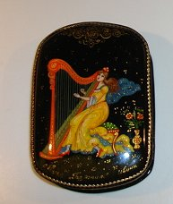 Russian Enamel Box with Harpist -  Artist Signed
