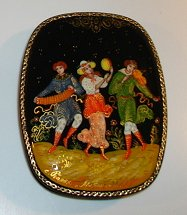 Russian Enamel Box with Three Musicians - Artist Signed
