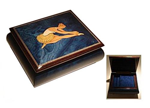 Ballerina Inlay on Blue Music Box