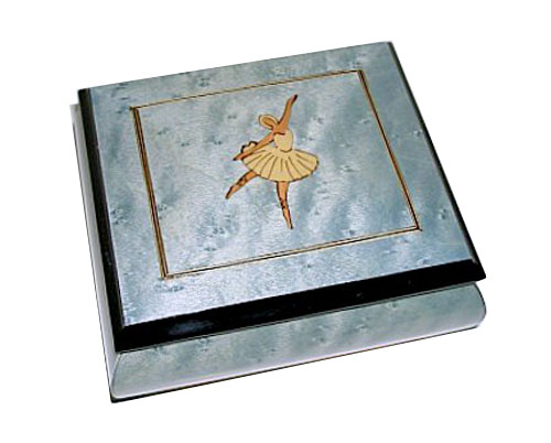 Ballerina Italian Inlay on Blue Music Box with Filetto Border