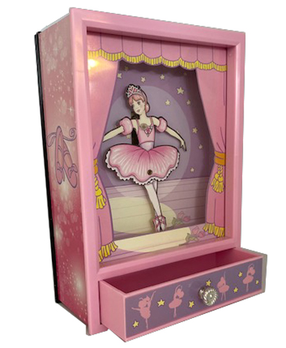 Animated Ballerina Musical Shadow Box with opened drawer