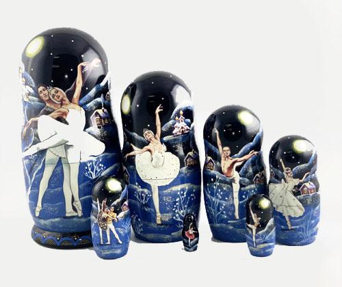 Russian Nesting Dolls of Swan Lake Ballet