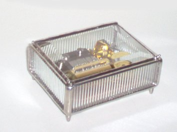 Beveled Glass Music Box by Bedford Downing 30 note Melody by Orpheou.
