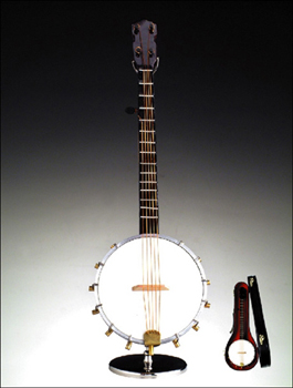 Miniature 5 String Banjo Musical with Stand and Case
