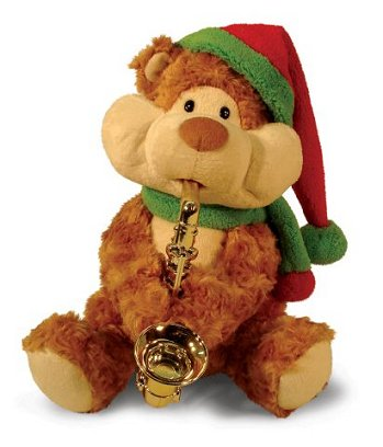 """Christmas Cheeks"" animated musical bear playing saxophone"