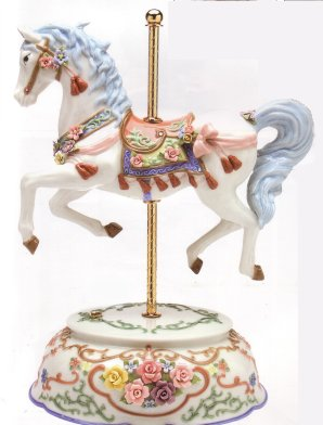 Large Musical Carousel Horse with Tassels