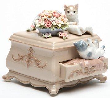 Kittens on a Dresser  Musical Figurine