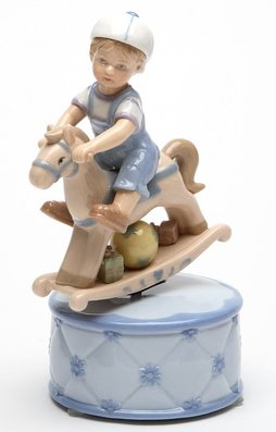 Boy on Rocking Horse Musical Figurine