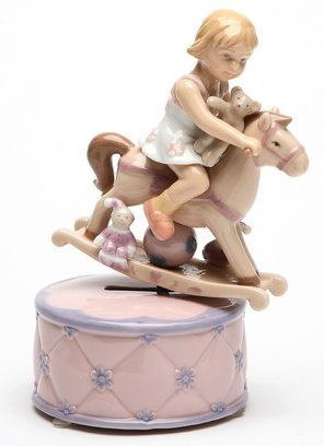 Animated Girl on a Rocking Horse Musical Figurine