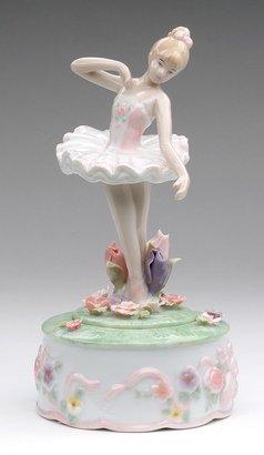 Music Box Ballerina Dances Among Flowers Musical Figurine