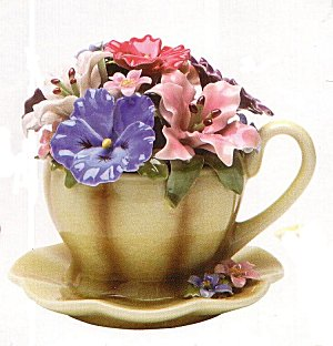 Porcelain Antique Style Musical Cup with Flowers