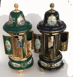 Sevres Style Carousel Mosques with Ballerinas in Wine, Green or Blue