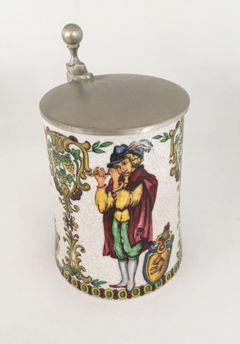 Colorful Porcelain Lidded Beer Stein with Musicians