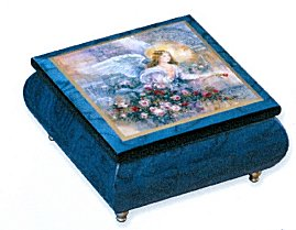 Blue Music Box featuring Angel of Love on Lid